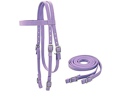 Tahoe Tack Double Layer Nylon Headstall with Reins Full Size, Purple