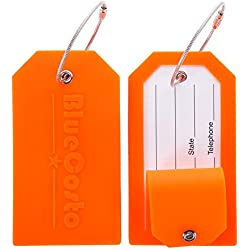 CSTOM 2X Silicone Etiquettes Bagages Etiquette Voyage Valise Baggages étiquettes à Bagage - Orange