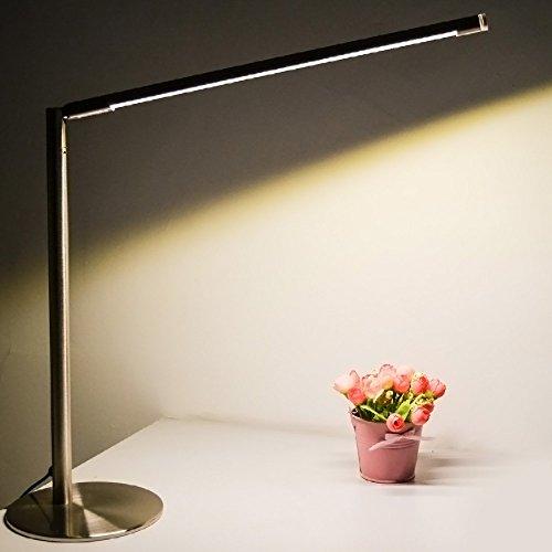 Joyin® 5 Watt metallo dimmerabile Led lampade da tavolo con tattili, acciaio AusVernickelt, orizzontale 360 gradi, verticale di 90 gradi angolo regolabile, fonte di luce la protezione degli occhi regolabile, 390 lumen, 3000-5500K, argento / lampada da tavolo minimalista (Warm