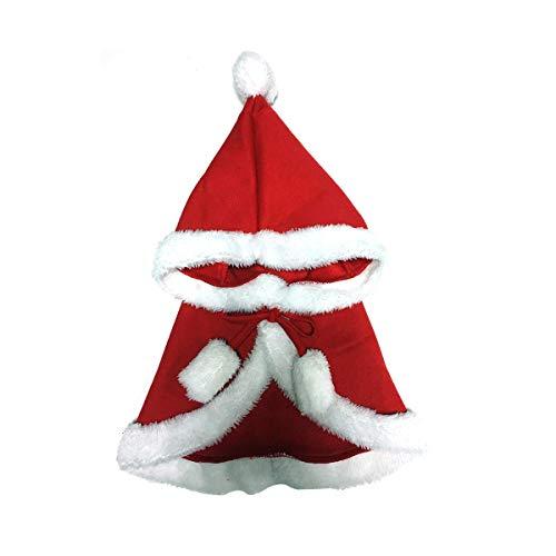 Weihnachten mit Kapuze Cape Pet Winter warme Clork Kleidung Kostüm rot ()