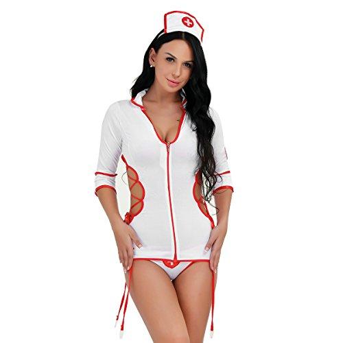 YiZYiF Krankenschwester Kostüm Damen Dessous Set für Erwachsene Nachtigall Reizwäsche Lingerie (4tlg. Krankenschwester Set), Unisize