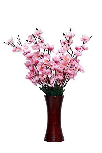 Blue Bird Pink Orchids Artificial Flower with wooden pot (22 inch, Pack of 1)