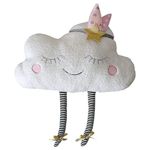 Committede Kuscheltier Plüschtier Geschenk für Baby Kinder Kissen Cartoon Weiße Wolken Muster Kissenbezug Lendenkissen Wurfkissenbezug Hause Auto Cafe Kindertag Deko