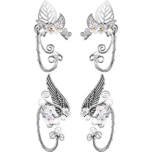 2 Paar Schicke Elf Ohr Manschetten Perle Flügel Handwerk für Cosplay Elven Manschette Wrap Ohrringe für Elven Halloween Kostüm, Cosplay, - Metall Flügel Kostüm