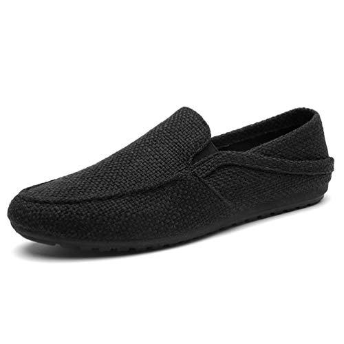 HILOTU Herren Driving Penny Loafers Wildleder Mokassins Slip On Casual Atmungsaktives Kleid Bootsschuhe Business-Schuhe (Color : Schwarz, Size : 39 EU)