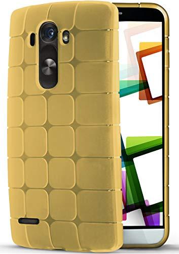 moex LG G3 | Hülle Silikon Transparent Gold Cube Back-Cover Ultra-Slim Silikonhülle Dünn Handy-Hülle für LG G3 Case TPU Schutzhülle