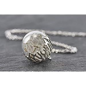 echtes Borosilikatglas Pusteblumen Kette Blüten Perlkappe Handmade silbern