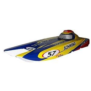 Flying Gadgets Petrol/ Gas 26cc Trailblazer Remote Control (RC) Professional Outdoor Speed Boat with Catamaran Hull Design - Blue & Yellow