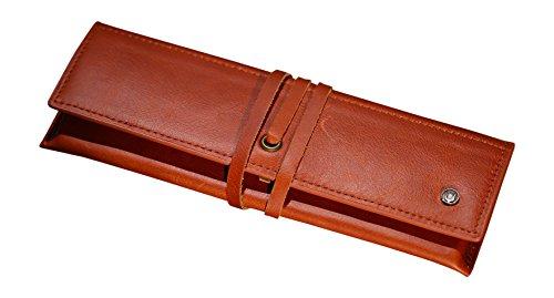 Cronus & Rhea®   Luxus Federmappe aus exklusivem Leder (Talos)   Federmäppchen - Mäppchen - Stifteetui - Stiftetasche   Echtleder   Mit eleganter Geschenkbox   Herren - Damen (Cognac)