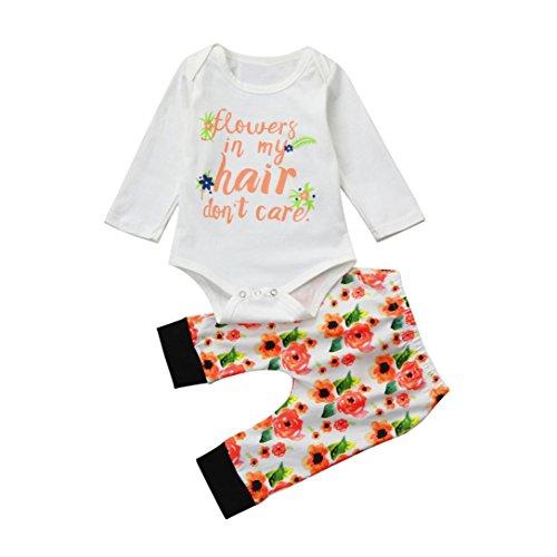 Baby Strampler Mädchen Baby anzug Longra Baby Neugeborene Kleidung mit Floral Brief Langarm Baby Body und Baby Hosen Babykleidung Babymode (Multicolor, 80CM 12Monate) Floral Langarm Body