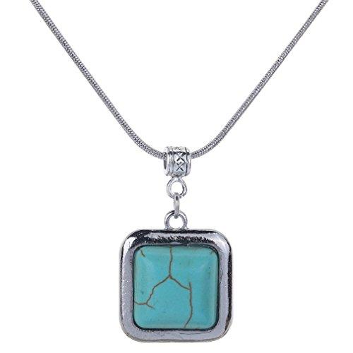 Yazilind quadratische Entwurfs-Türkis-Silber überzogene hängende Halskette