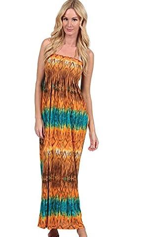 Ingear Smock Top Maxi Tube Dress (Large, Orange/Blue)