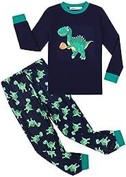Irevial Pijama para Niños,Pijamas de Manga Larga 6-15 Años-Dinosaurio/camión/astronave/excavador/Cohete Top y