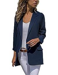 6a389ec509bfc Mujer Chaqueta De Traje Moda Ocasional Color Sólido Negocios Oficina Blazer  Primavera Otoño Chic Manga Larga