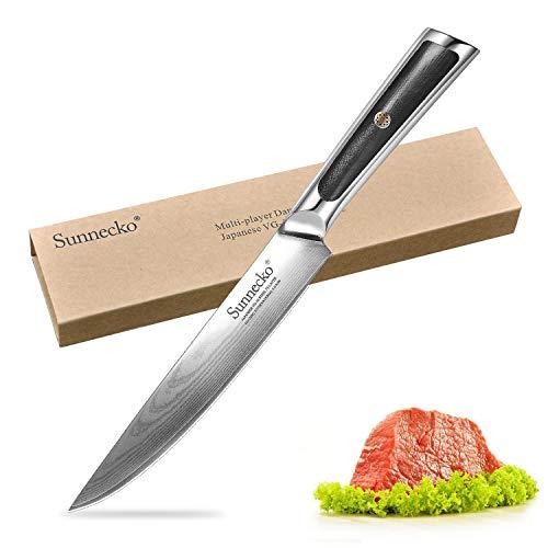 Sunnecko Fleischmesser 20cm - Elite Serie Profi Tranchiermesser Küchenmesser mit Lange Klinge aus Damaststahl Scharfe Ausbeinmesser für Fisch Fleisch Tranchiermesser