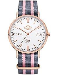 Sailor Reloj Limited Edition Sylt, Model: Sylt en rosègold/blanco con nylon pulsera | Reloj de cuarzo con indicador analógico | Exclusivo del Mar del Norte Accessories4men 2017, color pulsera: Dock