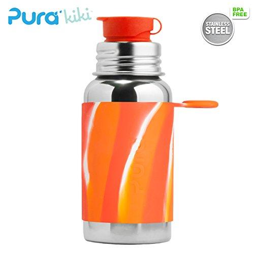 PuraSport™ Flasche - 500ml - BigMouth™ Aufsatz (inkl. Silikonüberzug) Pura Farbe/Design Blank + Orange Swirls Überzug