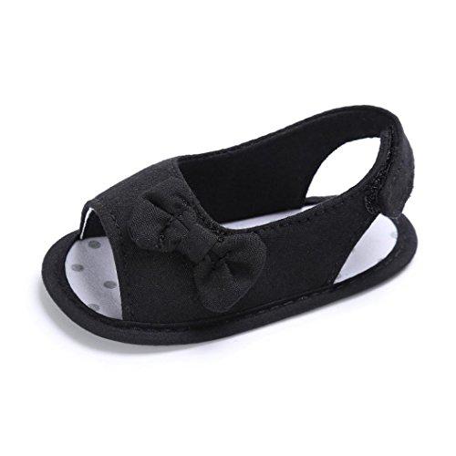 Bambino neonato ragazze bambino Ragazze morbide scarpe con suola Culla del bambino appena nato, Per 0-18 Mesi (Età: 6~12 mesi, Nero)
