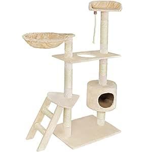 arbre chat griffoir pour chat en sisal jouets 153 cm beige cuisine maison. Black Bedroom Furniture Sets. Home Design Ideas