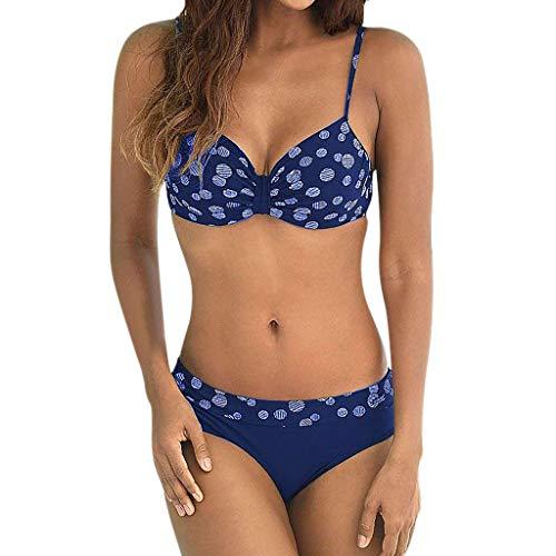 Blau Polka Dot Bikini-badeanzug (IZHH Damen Mode Bikini, Damen Sommer Bademode Mode Dot Print Bademode Beachwear Siamese Badeanzug Bikini Set Retro Polka-Dot Bikini Bikini Einteiliger Badeanzug(Blau,M))