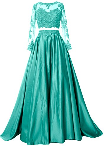MACloth Women 2 Piece Long Sleeve Prom Dress 2017 Lace Satin Formal Evening Gown Turquoise