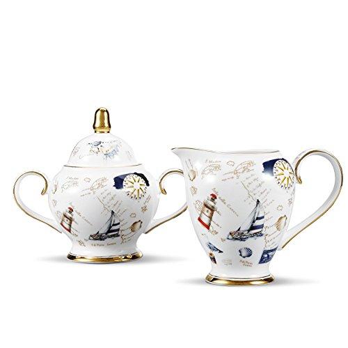 Panbado set 2 pezzi, set di latte e zucchero in porcellana ceramica bone china, lattiere e zuccheriere tazza di tè caffè colore bianca crema oro barca