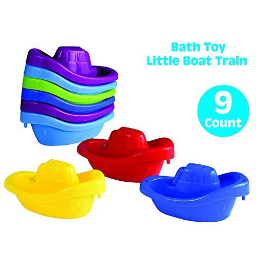 Playkidz Juguete de baño Pequeño Bote Paquete de Tren de 9 remolcadores de plástico apilables para niños para bañera y más en 6 Colores, Edades 3 y más