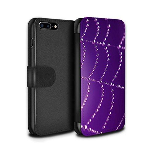 Stuff4 Coque/Etui/Housse Cuir PU Case/Cover pour Apple iPhone 7 Plus / Bleu Design / Toile d'araignée Perles Collection Pourpre