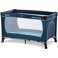 Hauck / Dream N Play Plus / Lit Parapluie 3 Pièces / 120 x 60 cm / Naissance à 15 kg / avec Matelas, Ouverture Latérale, Sac de Transport / Pliable / Transportable / Inversable / Navy Aqua (Noir Bleu)