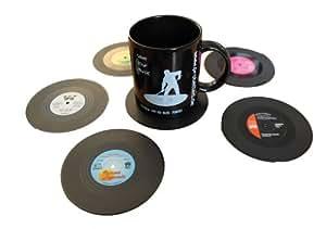 Protected LP Lot de 6 sous-verres en plastique en forme de vinyles