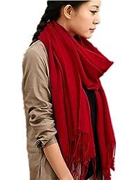 Prettystern- pashmina chal de 230cm de largo 100% hilado de lanas 80 monocromas franjas de color liso - selección de color
