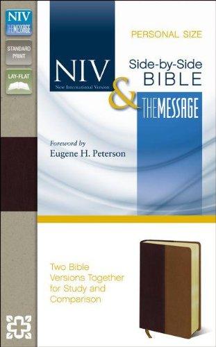 NIV & The Message Side-By-Side Bible: New International Version & The Message, Black Cherry/Dark Caramel, Italian Duo-Tone, Personal Size (Black Side Dark Cherry)