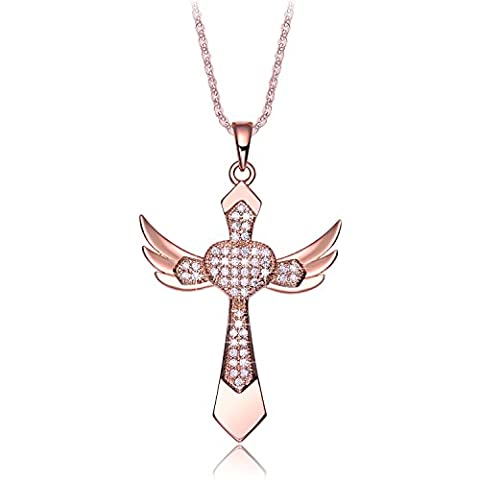 NEEMODA Rose Gold Plated Cross Heart Pendant Necklace for Women Cubic Zirconia Religious Angel Wings Fashion Jewellery Gifts for Her Birthday Anniversary Christmas Valentines
