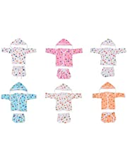 Toddylon® 6 Full Sleeves Jhabla, 6 Nappy and 6 Cap for New Born Baby- 0-6 Months