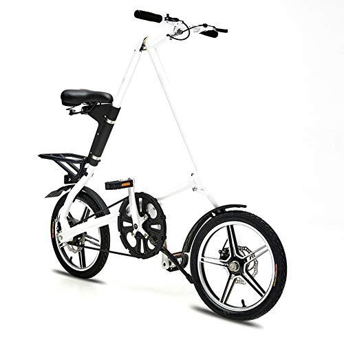 LHLCG Les Coussins réglables en Aluminium de Pliage de Freins à Disque de Bicyclette de 16 Pouces chargent 110kg,White