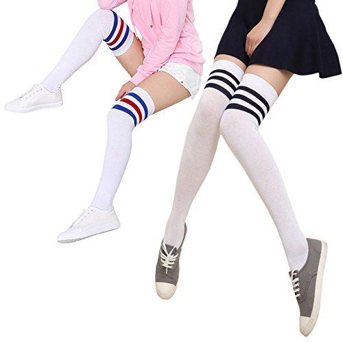 THEE Damen Winter Warme Überknie Strümpfe Baumwollstrümpfe Retro Lange Socken Overknee College Schüler Mädchen Sportsocken Über Kniestrümpfe mit drei Streifen