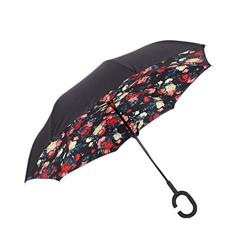 Spring Fever Inverted ombrello doppio strato mani libere antivento ombrello da viaggio, Beige Red