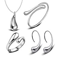 925 Sterling Silver hi-shiny Tear Drop Italian Design JEWELRY SET Necklace, Bracelet, Earrings,Ring