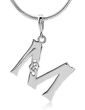 SILVEGO Keltischer Anhänger Buchstabe M Sterling Silber 925