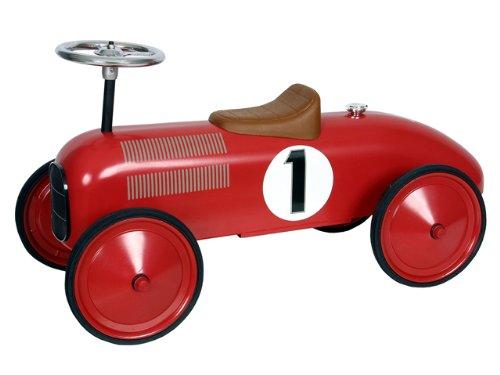 Marquant Coche infantil de carreras de pedales vintage para niños (Robusta estructura metálica, dirección activa, volante funcional) Rojo