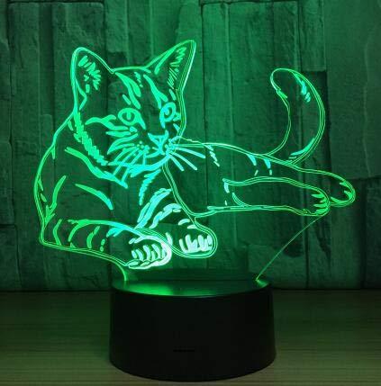 Kühle Tier Licht 3D Vision Walking Katze Nachtlicht für Kinder 7 Farbwechsel Schlafzimmer Stimmung Baby Nachtlicht Katze Gesicht Lampe, Katze 4, Touch-Schalter