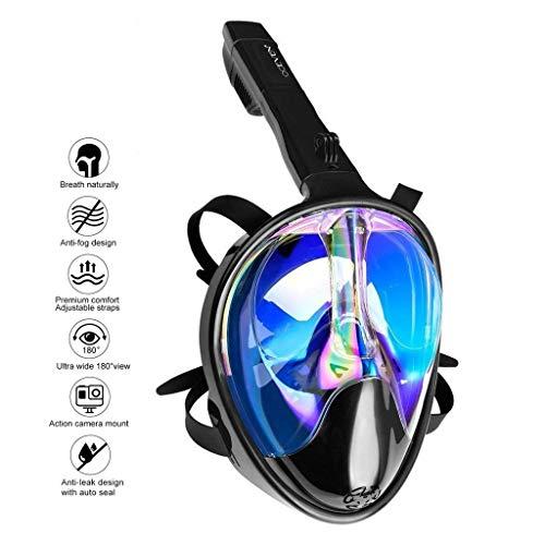 OCEVEN Tauchmaske, Easybreath Schnorchelmaske, Anti-Fog Anti-Leak 180° Sichtfeld Dichtung, aus Silikon Vollmaske, für Gopro Kamera Erwachsene - UV-Schutz (S/M, Schwarz-Blau)