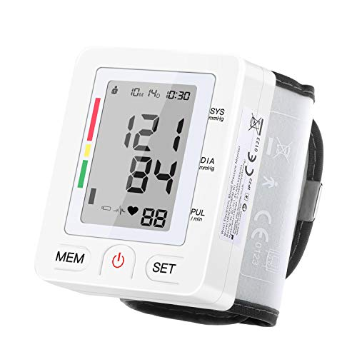 Pipishell LCD Digitales Blutdruckmessgerät Handgelenk Blutdruckmessung + Pulsmessung mit Arrhythmie-, WHO Anzeige & Speicherfunktion, CE ROHS zertifiziert