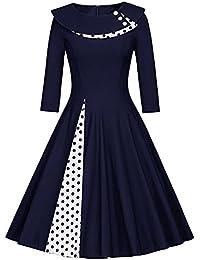 dfaad42ca24ad Minetom Vestito Dress Donna Mini Abito Da Festa A Pois A Line Anni 50  Vintage Retrò