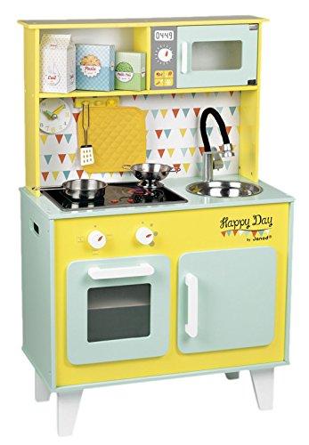 janod giocattolo in legno cucina per bambini cucina giocattolo in legno da cucina happy day di toni pastello mint 55 x 30 x 27 cm multicolore
