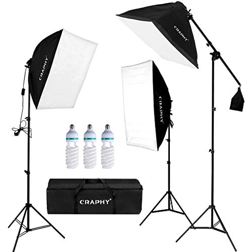 CRAPHY Softbox Kit Luz de Iluminacion Estudio Fotografia, con 3 Lámpara Fotografia 135W, 3 Ventana de Luz 50x67cm, 3 Tripodes, 1 Bolsa de Transporte