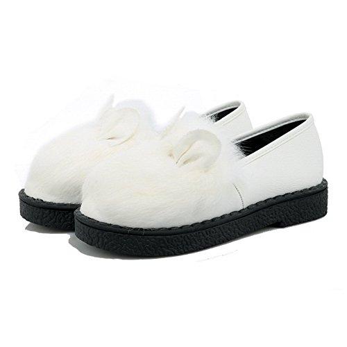 AgooLar Femme Matière Mélangee à Talon Bas Rond Couleur Unie Tire Chaussures Légeres Blanc