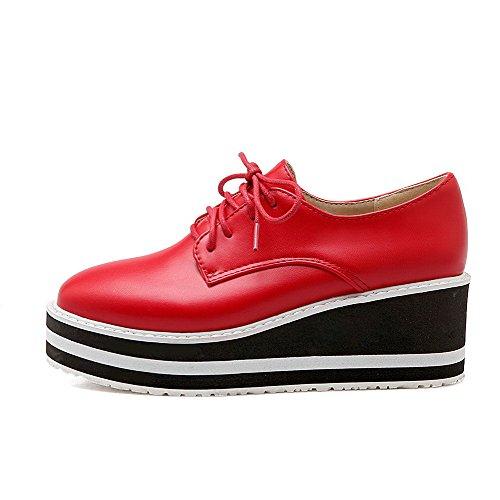 VogueZone009 Femme Carré à Talon Correct Matière Souple Couleur Unie Lacet Chaussures Légeres Rouge