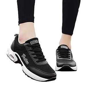 TianWlio Sneaker Damen Freizeit Mesh Plattform Outdoorschuhe Schnüren Rutschfeste Sportschuh Dicke Untere Turnschuhe Black White Red Green Pink 35-42