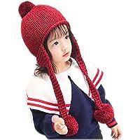 Aclth Chicos de Invierno para niñas Baby Girls Boys Kids Toddler Knit Cap Warm Earflap Wine Red Hat para otoño Invierno para Actividades de Snowboard al Aire Libre (Color : Vino Rojo)